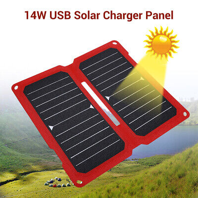 14W 5V 2.8A USB Solar Panel Charging Board for Smartphone Camera Hiking Climbing
