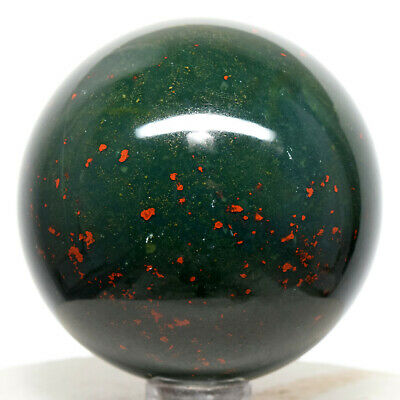 55mm Multicolor Bloodstone Sphere Natural Blood Jasper Heliotrope Mineral India