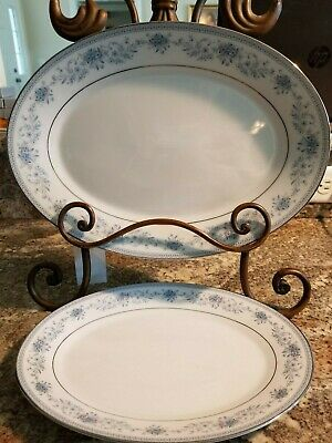 2 Noritake Blue Hill Serving Platters Meat Tray 2482 Contemporary Fine China