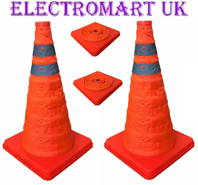 2 X Pop Pull Up Reflective Safety Traffic Warning Cone Car Caravan Motorhome