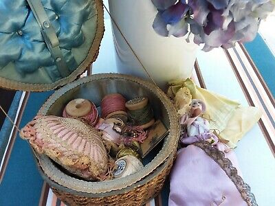 Antique Sewing Basket With Contents