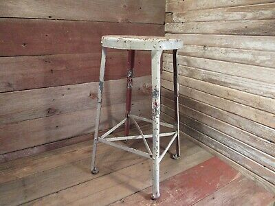 Vintage Industrial Metal Adjustable Stool Shop Garage Mid Century