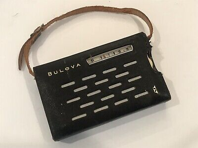 Vintage Bulova 7 Transistor Radio With Leather Case Very Nice
