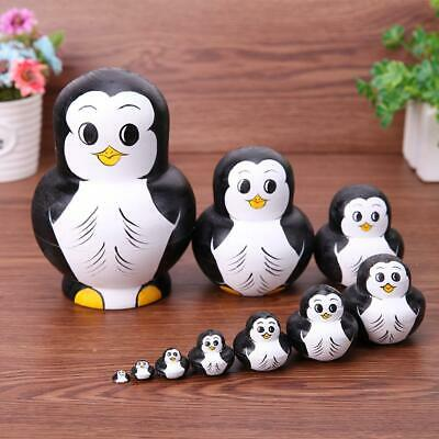 10pcs/Set Penguin Pattern Russian Matryoshka Dolls Wood Nesting Toys Gifts