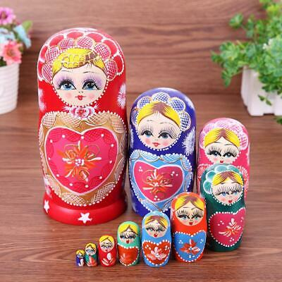 10pcs Heart Shape Girl Wood Matryoshka Doll Russian Nesting Dolls Kids Gifts