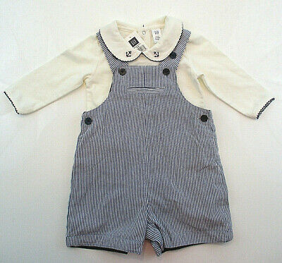 BABY GAP Outfit Boys 3-6 mos Nautical Shorts Overalls Shirt One-piece Set NWT