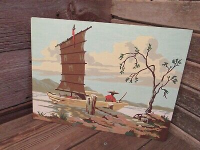 """Vintage Paint By Number 16"""" x 12"""" Boat Fishing scene - GREAT CLORS!"""