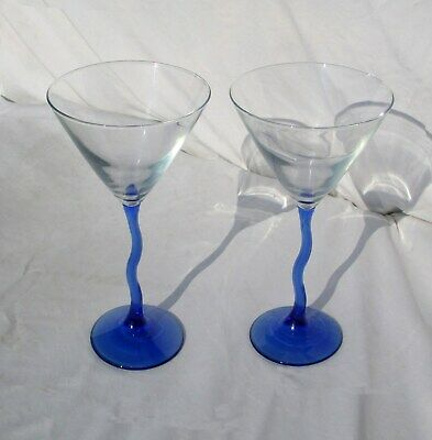Wine Martini Glasses Optic Glass Hand blown Cobalt Blue Curved Stems Set of 2