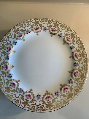 CAULDON GILT DINNER PLATES CAULDON CHINA Y2040 PINK ROSES. 12 Avail. Custom.