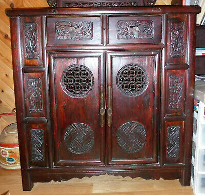 Large Antique Chinese Wooden Cabinet - Hand Carved Panels