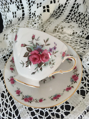 Vintage Queen Ann Rose Floral Teacup and Saucer