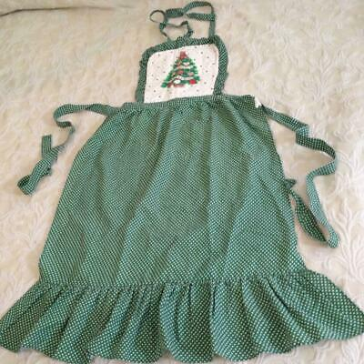 Vintage, Green Christmas Tree Decorated Apron - 38in Long