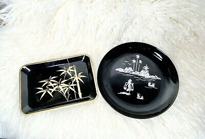 Vintage Chinese Black Lacquer Inlaid Tray Mother of Pearl Figure Farmer Village