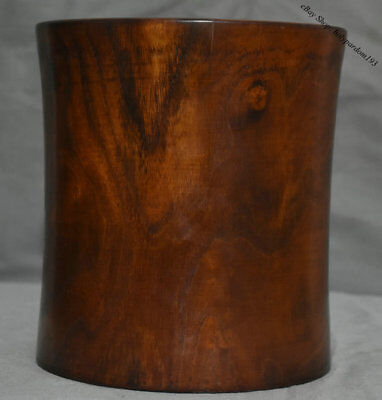 """8"""" Old Chinese Palace Huanghuali Wood Carved Round Smooth Brush Pot Pencil Vase"""