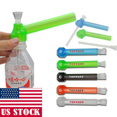 Top Puff Portable Water Glass Pipes Screw on Bottle Converter Hookah On-the-Go