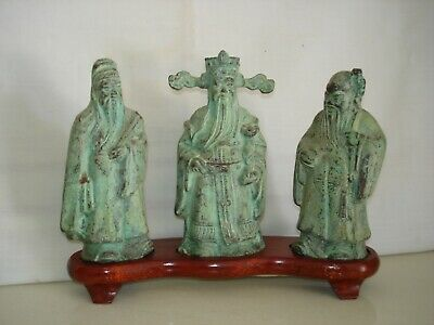 Vintage China Chinese Three Wise Men Bronze Figures On Wood Base