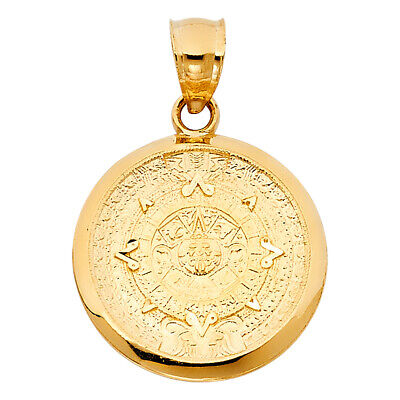 14K Yellow Gold Calendario Azteca Charm Pendant For Necklace or Chain