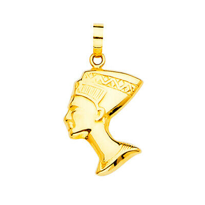 14K Yellow Gold Ancient Egypt Pharaoh Charm Pendant For Necklace or Chain