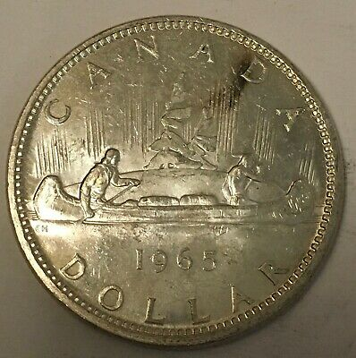 1965 Canada 🇨🇦 Silver One Dollar Canadian Beauty ASW .60 oz, Sharp FX