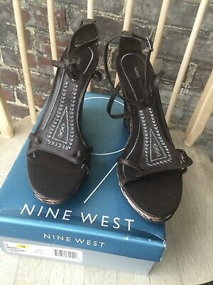 d178555a45e NINE WEST, LADIES (New) Tan Embossed Leather Open Toe Wedge Heels ...