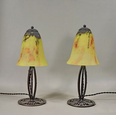 GAUTHIER & DAUM :PAIR OF FRENCH 1930 ART DECO LAMPS wrought iron ..... lamp 1925
