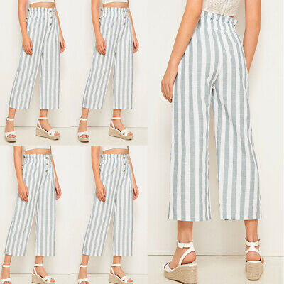 Womens Wide Leg High Waist Casual Summer Pants Loose Culottes Trousers