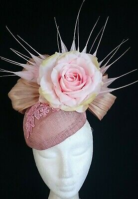 Nude Latte Beige Pink Flower Silk Feather Fascinator Races Wedding Melbourne Cup