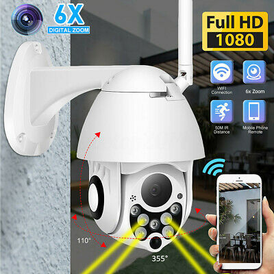 1080P HD In/Outdoor WiFi PTZ Pan Security IP IR Camera Night Vision Waterproof