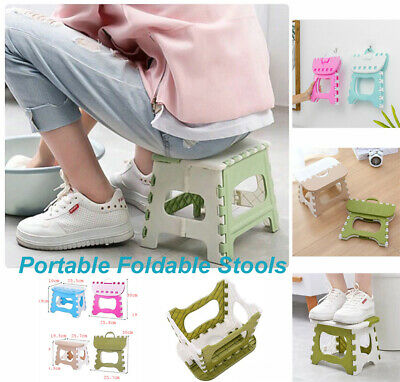 UK Plastic Portable Folding Stool Small Chair Super Load-bearing For Adults Kids