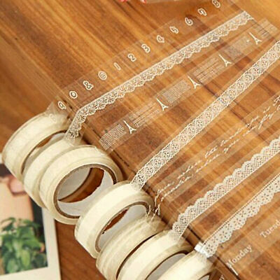 135 PIECES Roll DIY Washi Paper Lace Decorative Tape Adhesive Tape H3Y0