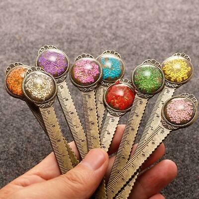 1 pcs Retro metal bookmark ruler colorful flower bookmarks book page marker 2019