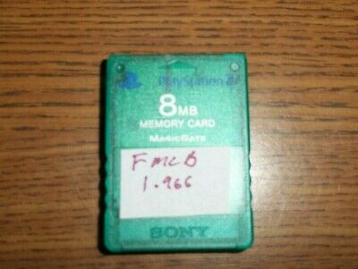 PS2 Genuine Sony Green 8MB FMCB Memory Card Free Mcboot 1.966 Multi-install