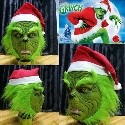 AU The Grinch Stole Mask W Christmas Hat Party Prop Cosplay Costume Halloween