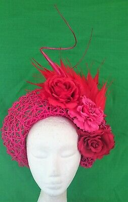Hot Pink Fuschia Red Feathers Halo Headband Crown Fascinator Races Melbourne Cup