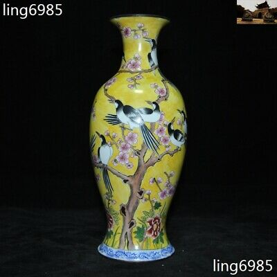 Marked China Dynasty Wucai porcelain Yellow Glaze Plum Bird Zun Bottle Pot Vase