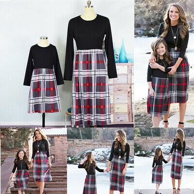 UK Family Matching Clothes Mother and Daughter Striped Plaid dress Outfits