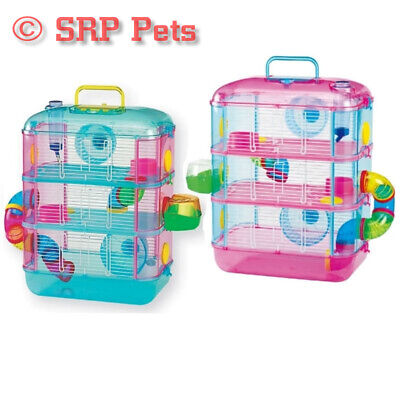 Lazy Bones Hamster Cage, Three Storey With Tubes, Blue Or Pink, Spare Tube Pack