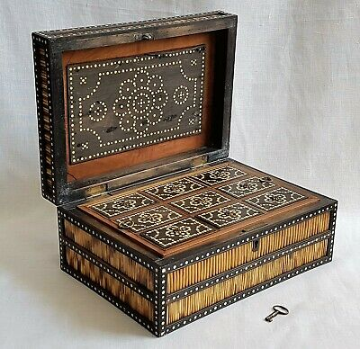 "Antique Porcupine Quill & Ebony Box Casket + Lock & Key 12"" Or 31 Cm  Wide"