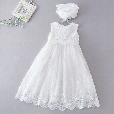 Baby Girls White Lace Christening Dress Gown and Bonnet 0 3 6 9 12 18 Months