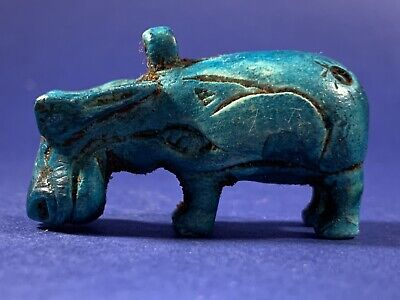 Very Beautiful Ancient Egyptian Faience Taweret God Statuette Circa 990-660Bce