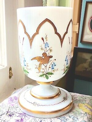 Antique French Opaque White Art Glass Cup Shape Vase- Birds & Reeds -3 Days Ship