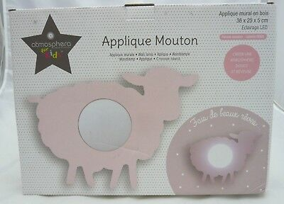 Atmosphera for kids veilleuse mouton rose applique murale 36 x 25 x 5 cm