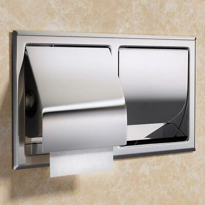 Toilet Roll Holder Stainless Steel Double Recessed Tissue WC Bathroom