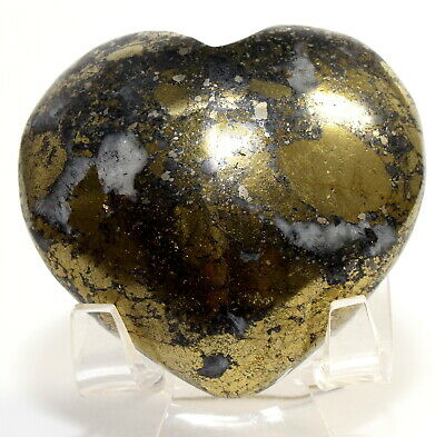 "2.1"" 125g Golden Chalcopyrite w/ Calcite Heart Polished Gemstone Crystal - Peru"