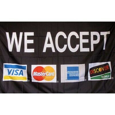 3/'x5/' We Accept Credit Cards Flag Visa Mastercard Banner Outdoor Sign Store 3X5