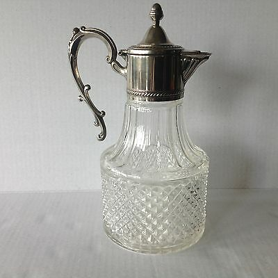 Pressed Clear Diamond Point Claret/Jug Glass Decanter Silver Plated Top