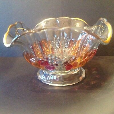 Depression Indiana Glass Bowl Garland Pattern with fruits and gold Flash