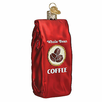 Ruby Red Bag Of Coffee Beans 1.5 x 4 Glass Blown Christmas Ornament