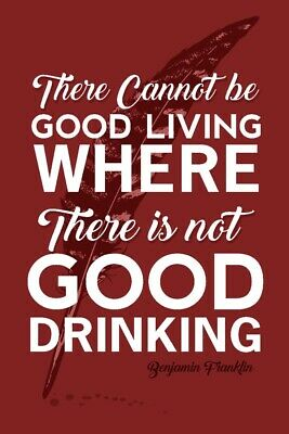 Benjamin Franklin Good Living Good Drinking Red (Prints, Signs, Canvas, More)
