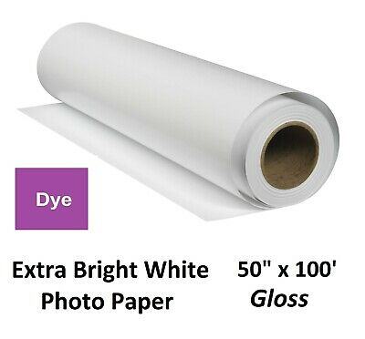"""Extra Gloss Inkjet Photo Paper for Dye-Based Pigment (HP Canon Epson) 50"""" x 100′"""